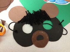 A bear mask for preschoolers. Used during the lesson theme containing hibernation.  Great to wear when taking their picture in our homemade cave with bats (picture soon to come)!