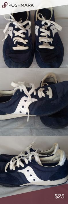 Saucony blue and white vintage style shoes Saucony blue and white vintage style shoes.  Used but in very good condition. Saucony Shoes Sneakers