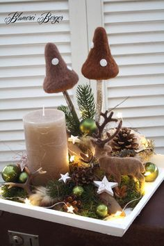 """Christmas Decorations :::: Advent Arrangement """"Forest Christmas"""" :::: – a unique product by BlumereiBerger on DaWanda Source by shelleyenloe Christmas Candle Decorations, Christmas Candles, Christmas Signs, Christmas Home, Christmas Wreaths, Christmas Crafts, Christmas Ornaments, Holiday Decor, Autumn Decorating"""