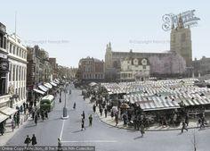 Photo of Norwich, Gentleman's Walk And Market 1938 Norwich England, Norwich Norfolk, Norfolk England, Norwich Market, Posters Uk, Norfolk Coast, Great Yarmouth, Uk Photos, History Photos
