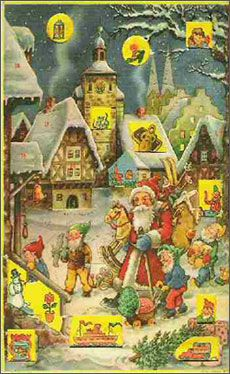 Advent calendar with pictures and glitter highlights.  I still search out this kind every autumn.