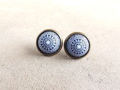 Navy Blue Earrings Stud Earrings Vinatge Etched Earrings Small Earrings Ear Posts Gift For Her