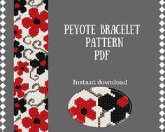 Flowers red pattern bracelet Peyote Beading Seed bead pattern