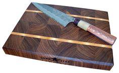 End Grain Walnut with Maple Stripes Cutting Board - Traditional ...