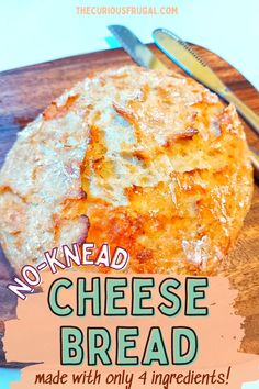 Yummy easy cheese bread recipe! Omg this is my absolute favorite homemade cheese bread recipe. It is such an easy bread recipe, you make it in a dutch oven, and it's all crispy on the outside and soft on the inside…yum!!! I use this no knead cheese bread for breakfast, as toast, for sandwiches, and even an afternoon snack. This is the perfect recipe if you are a beginner to bread baking! Homemade Cheese Bread Recipe, Healthy Bread Recipes, Easy Baking Recipes, Easy Cheap Dinner Recipes, Low Carb Dinner Recipes, Baking For Beginners, Easy Cheese, Paleo Baking, Baked Pumpkin