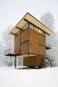 Weathering steel enclosure of the Delta Shelter by Olson Kundig Architects