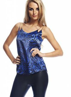 Blue Tiger Print Sleeveless Top #party #animal #animalprint