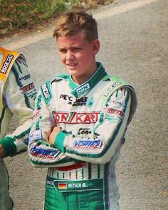 A rare photo of Mick Schumacher, Michael's son, ( who karts under his mother's name ).