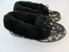 628ed650f04 Details about NEW COACH Fiona 6 Black Signature Shearling Fur Moccasin  Slippers Shoes Mocs