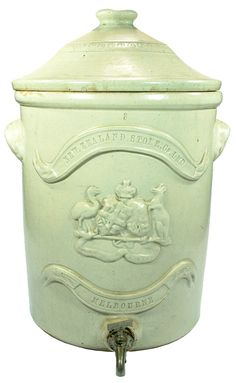 New Zealand Stone Co Ltd Melbourne. Stoneware Water Filter body. Applied coat of arms decoration.