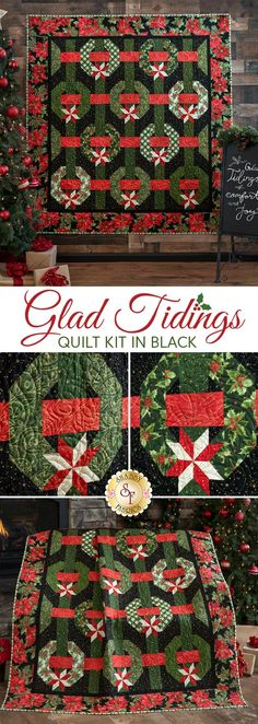 This 3-dimensional illusion of festive wreaths, ribbons and bows on black is brought to life with the timeless fabrics from the Glad Tidings collection by Maywood Studio. The fabrics in these stunning quilts feature beautifully illustrated Poinsettia, Pine boughs, Holly and more with tasteful metallic accents throughout!  Also available in White. Can't choose which one you love most? Make them both for an amazing Christmas presentation in your own home, or make one for someone very special!