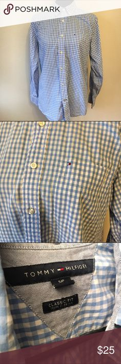 Tommy Hilfiger classic fit small blue check men's Tommy Hilfiger men's small blue checkered button up in good condition. Classic fit. Tommy Hilfiger Shirts Casual Button Down Shirts