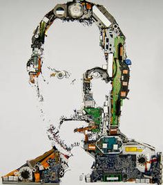 Steve Jobs portrait made with Macbook Pro parts