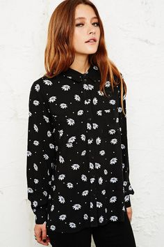 Pins & Needles Daisy Spot Shirt at Urban Outfitters Denim Skirt, High Fashion, Urban Outfitters, Daisy, Street Style, Style Inspiration, My Style, Model, How To Wear