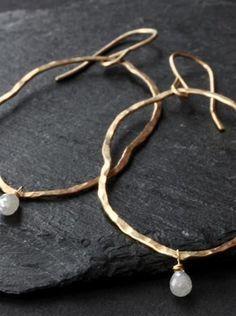 Raw Diamond Gold Hoop Earrings