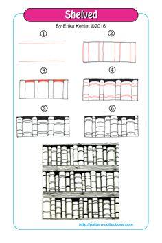 Shelved Tangle, Zentangle Pattern by Erika Kehlet Doodle Zen, Tangle Doodle, Tangle Art, Zentangle Drawings, Doodles Zentangles, Doodle Drawings, Hipster Drawings, Easy Drawings, Pencil Drawings