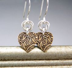 Small Gold Heart Earrings  Mixed Metal Silver by TouchOfSilver