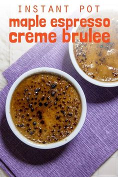 Bittersweet coffee and maple – this f… [Instant Pot] Ahorn Espresso Creme Brulee. Instant Pot, Coffee Creme Brulee, Espresso, Pots, Brulee Recipe, Slow Cooker Desserts, Fancy Desserts, Cooking Time, Food To Make