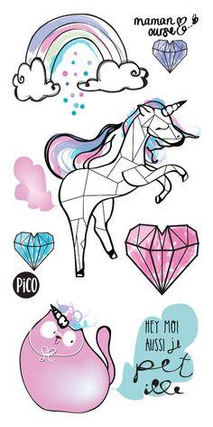 WOW, une licorne qui PÉTille - signé Maman Ourse - Tattoo - Tatouage temporaire - PiCO