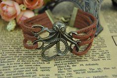 Retro Bronze BraceletOctopus braceletBrown by BeautifulShow, $3.99 Fashion personalized charm bracelet. Friendship, birthday, holiday gift.