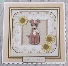 Cute dog 7x7 card with decoupage on Craftsuprint designed by Angela Wake - made by Diane Vermeer -