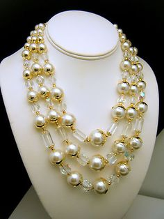Vintage Japan Lustrous Faux Pearl Glass Bead Necklace Rich Elegant  - Found on Lookza.com