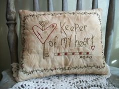Items similar to Decorative Valentine Pillow, Valentines Day, Heart, Hand Stitched on Etsy Little Valentine, Valentine Day Love, Valentine Day Crafts, Vintage Valentines, Heart Decorations, Valentines Day Decorations, Handmade Decorations, Primitive Stitchery, Primitive Pillows