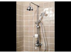 "Victorian exposed shower with 5"" rose, handset & soap basket"