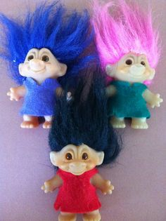 Trolls! i remember them most on the ends of pencils...u could spin the pencil between your hands and make their hair crazy:)