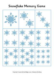 Sneeuwvlokkenmemory tellen t/m 9 Druk de 5 twee keer af en je kunt er een rekenmemory (steeds samen 10) van maken