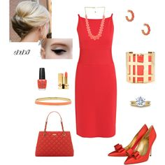 Spring Coral, Kate Spade, Tory Burch,  created by dawndayiannelli on Polyvore