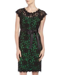 Black and green lace dress