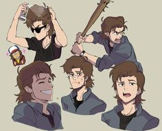 "misterunagi: ""Finished watching Stranger Things 2! Steve Harrington's the man!! Exploring a more anime-y/cartoony version of Steve.. (sorry if it just looks like Voltron..!) """