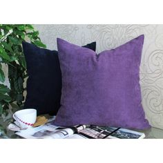Plum Pillow, Blue Velvet Pillow, Plum Velvet Bed Pillow, Plum Velvet... (51 BAM) via Polyvore featuring home, home decor, throw pillows, pillow, velvet accent pillows, blue home accessories, blue toss pillows, plum throw pillows and plum accent pillows