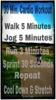 30 Minute Cardio Workout >> Go outside and do this quick #running workout to build your #cardio endurance