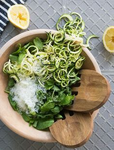 A quick and easy dinner recipe consisting of zucchini, arugula, mint, and lemon