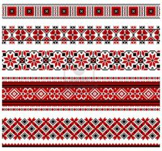 illustrations of ukrainian embroidery ornaments, patterns, frames and borders. Stock Photo - 8877443