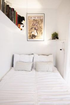 Apartment Therapy Small Spaces Living Room: Wall shelving helps this small bedroom make do -- . Cozy Small Bedrooms, Small Rooms, Small Apartments, Small Spaces, Bedroom Small, Trendy Bedroom, Small Bedroom Decor On A Budget, Extra Bedroom, Budget Bedroom