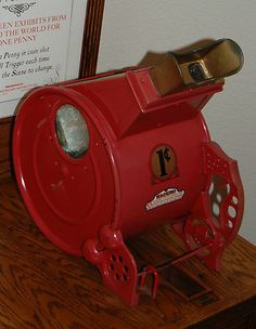 """1922 """"Miniature Museum"""" by Whiting -- a coin-operated stereoscope that  showed 3-D pix at a penny each."""