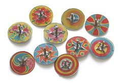 JAPAN TINY SPINNING TIN LITHOGRAPH Tops from Japan 1930s