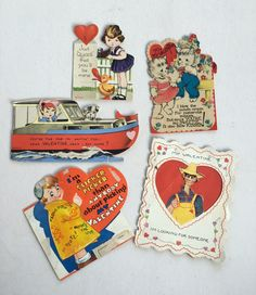 Vintage Valentine's Day Cards set of 5 1950's Mechanical by GardenBarn on Etsy