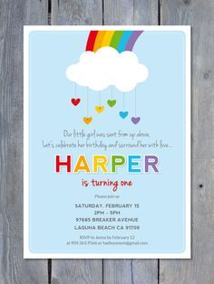 HEARTS & RAINBOWS Printable Birthday Invitation by Sweet Scarlet Designs. Perfect for a girl or boy Birthday. http://www.etsy.com/listing/177627331/rainbow-birthday-invitation-1st-birthday?utm_content=bufferfb0e9&utm_medium=social&utm_source=pinterest.com&utm_campaign=buffer