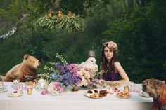 Animal tea parties are the best kind of tea parties. Dinner guests include our friendly bear in a fedora, the stylish owl in a top hat, and the bubbly bob cat. Also we can't forget the model Kathryn Bruns!