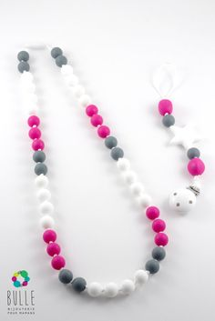Silicone teething necklace and silicone pacifier clip - Framboise