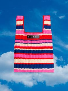 MARNI MARKET Shopping Bag In Acrylic Cotton Blend With Striped Motif In Pink, Red, White And Blue from the Marni Spring/Summer 2020 collection Unisex. Cotton Shopping Bags, Knit Basket, Textiles, Beaded Bags, Knitting Accessories, Summer Bags, Market Bag, Knitted Bags, Diy Clothes