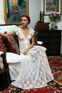 White Lace Bridal Nightgown Full Sweep Capelet by SarafinaDreams