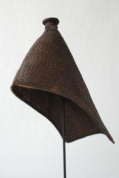 African Lugbara Mom's Hat #1 #152062 A thickly woven rain hat worn by women of Lugbara and Mangbetu tribes, Congo and Uganda. Extraordinary...