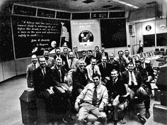 The Mission Control team for Apollo 11, the first NASA mission to land men on the moon. Kranz is seated in the second row, on the left.