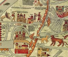 Medieval mappi mundi -- Detail of the Ebstof map, 13th century by Gervase of Ebstorf
