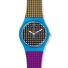 Add some colour with this Fun & Funky 'Behind The Wall' unisex Watch from our Swatch Collection for only €50 @ www.rocks.ie#irishjewellers #dublinjewellers #graftonstreet #stillorganvillage #swatch #treatyourself #getthelook #summer2020 #fashionaccessories #unisex #trending #giftidea #forher #forhim Swatch, Pale Blue Dot, Wall Watch, Brand Name Watches, Displaying Collections, Watch Sale, Wall Prints, Color Mixing, Quartz